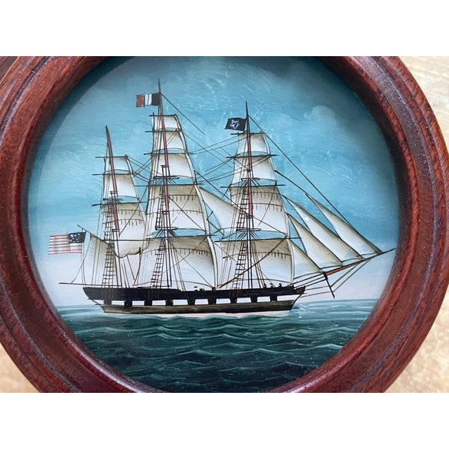 Vintage American Clipper Ship Reverse Painted Wood Box, Round Trinket Box For Sale - Image 4 of 11