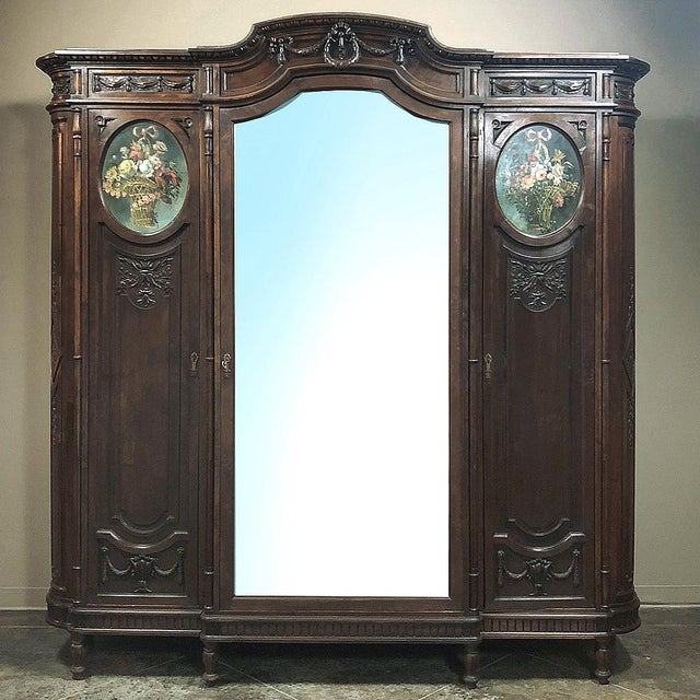 19th Century Italian Walnut Louis XVI Triple Armoire For Sale - Image 13 of 13