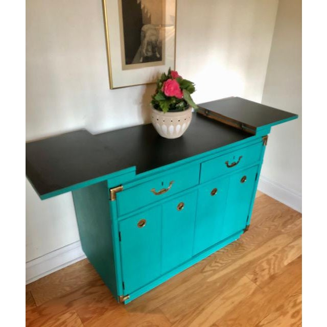 Drexel Drexel Furniture Campaign Mid-Century Server or Buffet For Sale - Image 4 of 8