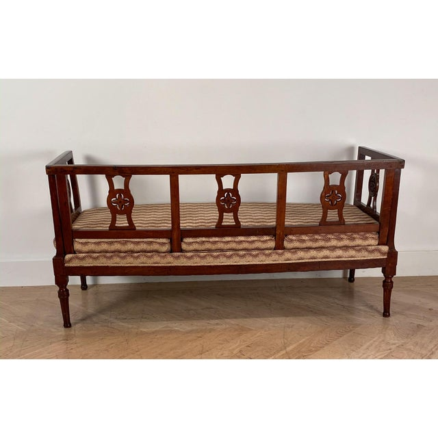 Late 18th Century Antique Neoclassical Style Italian Walnut Settees - a Pair For Sale - Image 5 of 11