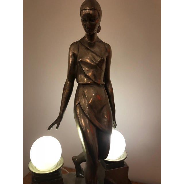 Art Deco Female Bronze Table Lamp Signed by Fayral - Image 5 of 11