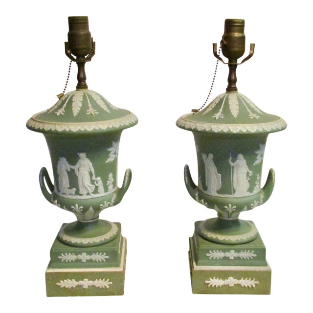 Wedgewood Jasperware Urns Mounted as Lamps - a Pair For Sale
