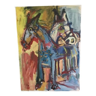 1992 Contemporary Abstract Horses Painting