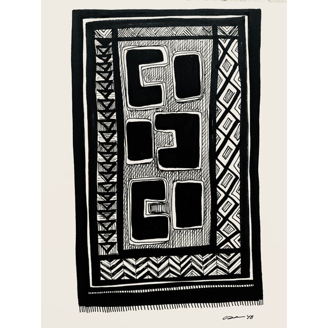 "Drawing/Sketching Materials Original "" Congo"" Pen & Ink Drawing For Sale - Image 7 of 7"