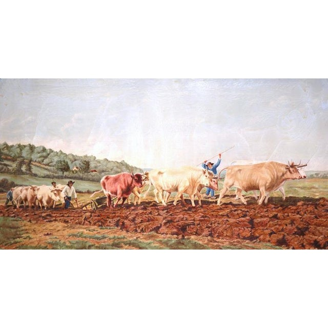 Early 20th Century Early 20th Century French Oil Cows Painting in Carved Arched Gilt Frame For Sale - Image 5 of 10