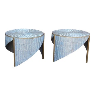 Ooak 1980s Artisan Angular Metallic Textural Silver and Gold Side Tables - a Pair For Sale