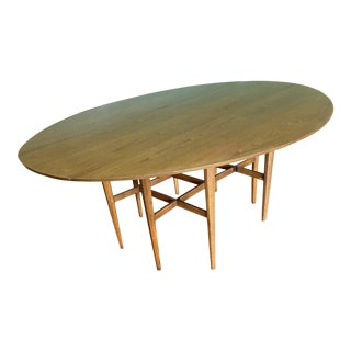 Vintage Edward Wormley for Dunbar Style Danish Modern Extension Dining Table For Sale