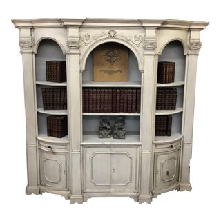 Italian Antique White Painted Bookcase