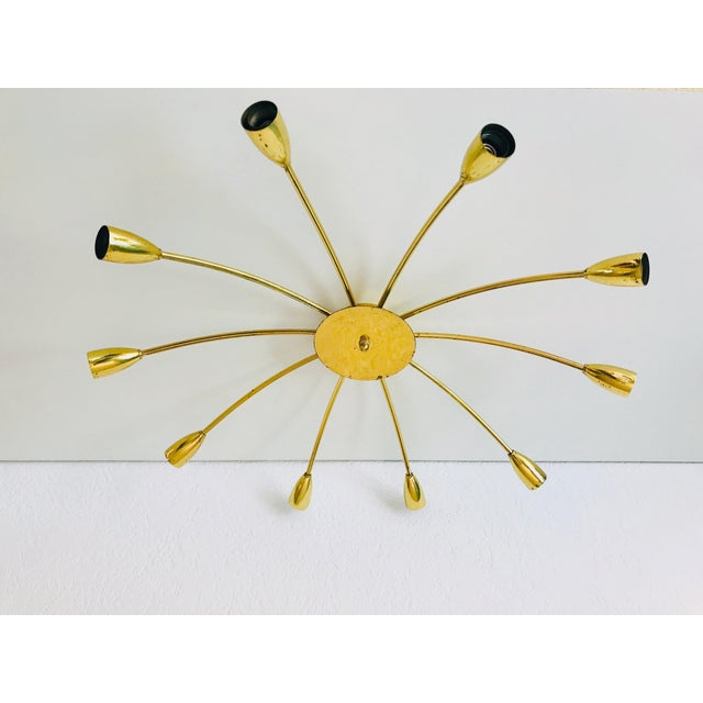 1960s Mid-Century Modern Brass Sputnik 8-Arm Chandelier, Germany For Sale - Image 11 of 11
