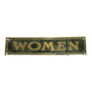Antique Brass Womens Restroom Sign For Sale
