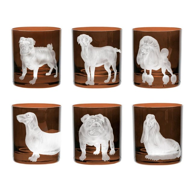 Brown ARTEL Dog Collection Set of Double Old Fashioned Glasses, Walnut, Set of 6 For Sale - Image 8 of 8