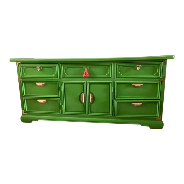 1960s Vintage Lacquered Chinoiserie Style Credenza For Sale