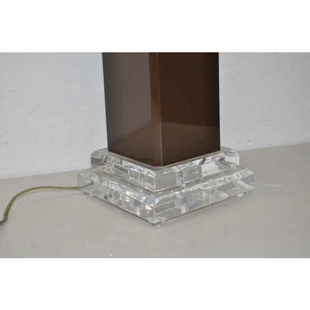 Vintage Brown Lucite Table Lamp - Image 4 of 6