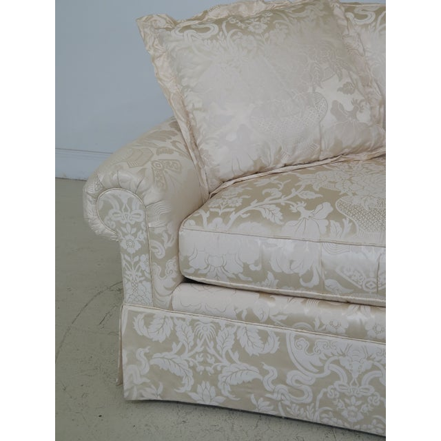 2010s Modern Ej Victor Silk Damask Upholstered Sofa For Sale - Image 5 of 11