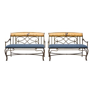 Country French Hand Painted Iron & Linen Settee For Sale