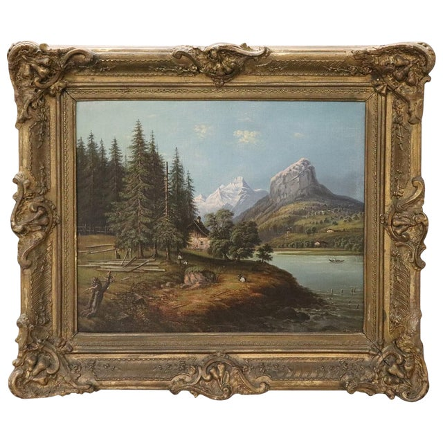 19th Century Oil Painting on Canvas Mountain Landscape For Sale