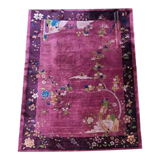 1920s Purple Ground Art Deco Chinese Rug For Sale