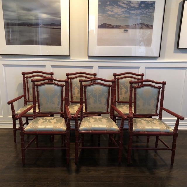 1990s Vintage Faux Bamboo Dining Chairs - Set of 6 For Sale - Image 11 of 12