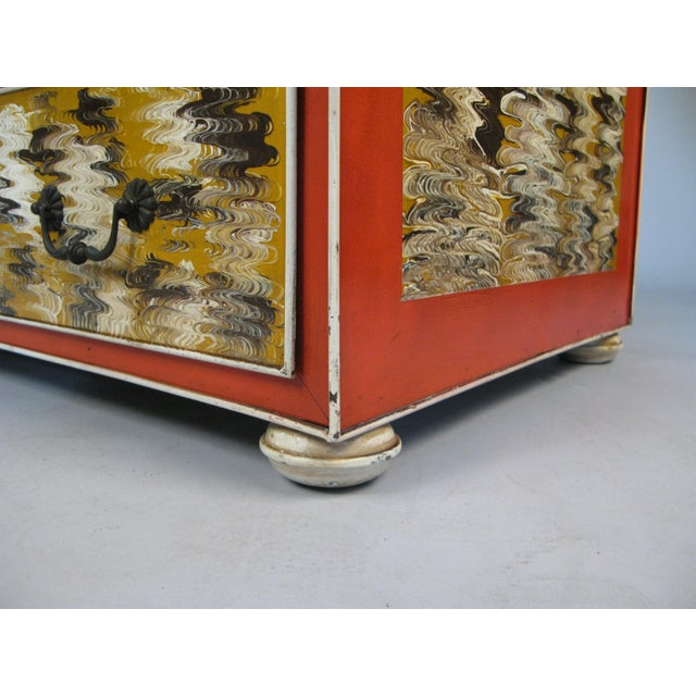 Orange 1960s Vintage Hand Painted Metal 2-Drawer Chest For Sale - Image 8 of 9
