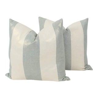 Shimmer Blue Linen Stripe Pillows, Pr For Sale