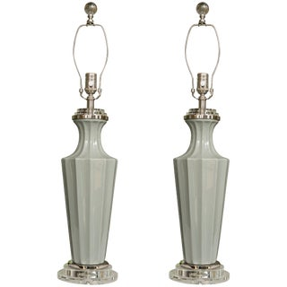 Italian Glass Gray Vases as Table Lamps - a Pair For Sale