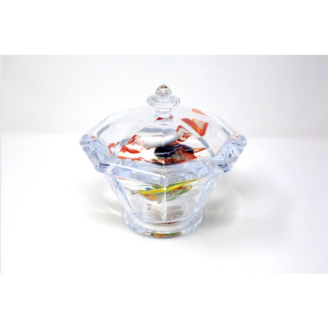 Octagonal Lucite Candy Bowl With Murano Glass Candy For Sale - Image 9 of 13