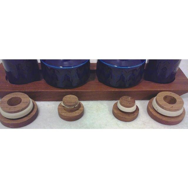 Mid-Century English Cobalt Blue Ceramic and Teak Condiment Set - 5 Pieces For Sale - Image 5 of 6