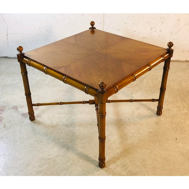 Campaign 1960s Faux Bamboo Style Square Coffee Table For Sale - Image 3 of 13