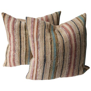 Pair of 19th Century Country Rag Rug Pillows For Sale