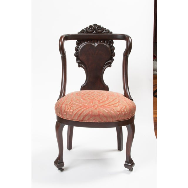 Red Mahogany Antique Chairs in Fortuny Fabric For Sale - Image 8 of 9