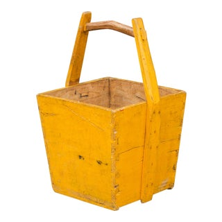 Charming Yellow Chinese Wooden Basket For Sale