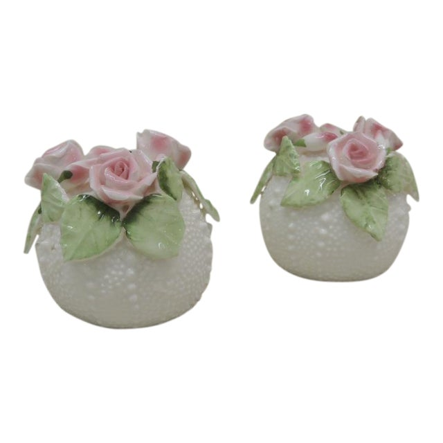 Bone China Sea Urchin Salt and Pepper Shakers - a Pair For Sale