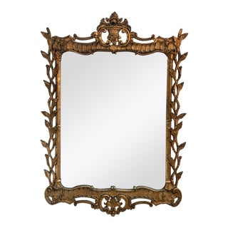 Antique Wood Carved Gold Mirror For Sale