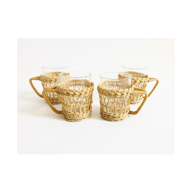 Glass Vintage Glasses in Wicker Holders - Set of 4 For Sale - Image 7 of 7
