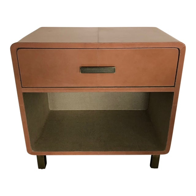 Made Goods Dante Double Nightstand in Aged Camel Leather For Sale