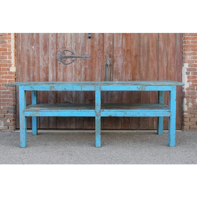 Teak Colonial Blue Farmhouse Kitchen Table For Sale - Image 7 of 7