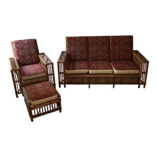 1970s Vintage Bamboo Chic Rattan Sofa Chair and Ottoman Seating Set- 3 Pieces For Sale
