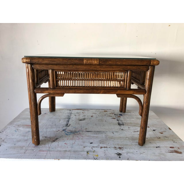 Rattan Asian Style Coffee Table W/Glass 28x22x20.5h Excellent For Sale - Image 4 of 8