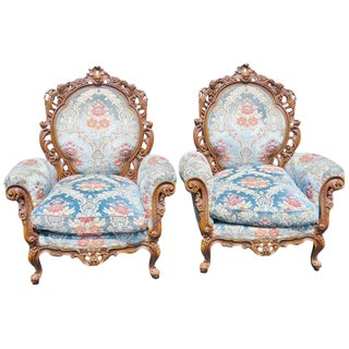 Pair of Victorian Style Carved Bergeres