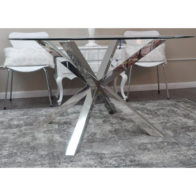 Metal Modern Polished Chrome Based Glass Topped Dining Table For Sale - Image 7 of 7