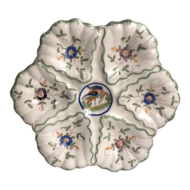 French Faience Oyster Plate Moustiers Style Circa 1940 For Sale