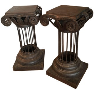 Pair of Arturo Pani Iron Column Side Tables For Sale
