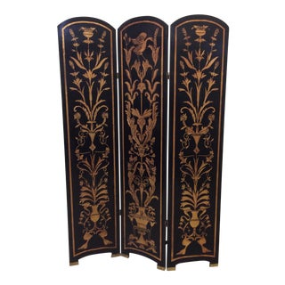 Black Lacquer & Gold Leaf Chinoiserie Wood Carved 3-Panel Screen Room Divider For Sale