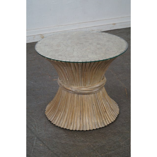 McGuire Style Rattan Wheat Sheaf Glass Top Side Table For Sale - Image 10 of 10