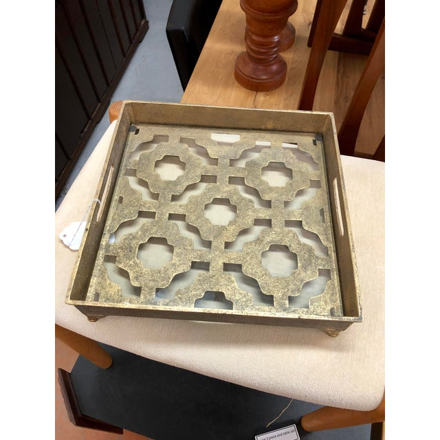 Contemporary Gold Metal and Glass Tray For Sale In Charleston - Image 6 of 6