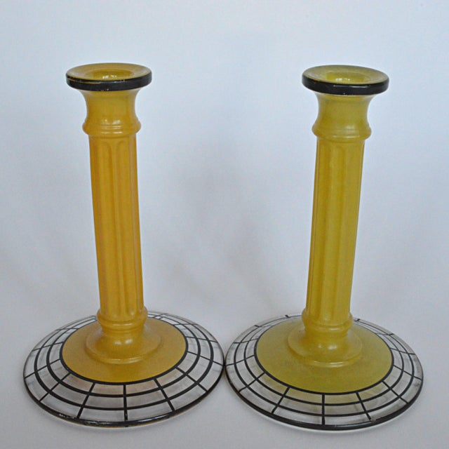Neoclassical Art Deco Yellow Glass Candlesticks - Pair For Sale - Image 3 of 6
