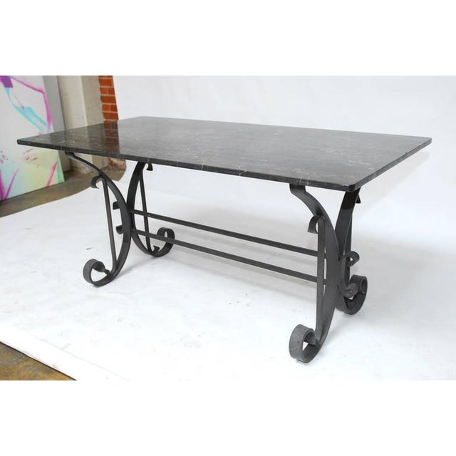 Italian Wrought Iron and Black Marble Dining Table For Sale - Image 9 of 10