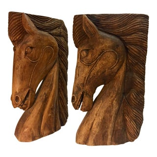 Boho Chic Monumental Wood Carved Horse Sculptures - a Pair For Sale