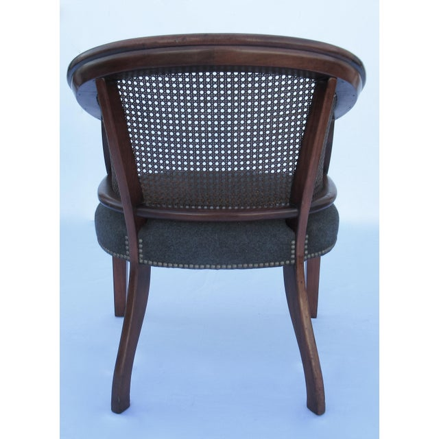 Brown Vintage C.1968 Mahogany Barrel Back & Caned Arm Chairs With Brass Nail Heads - a Pair For Sale - Image 8 of 13