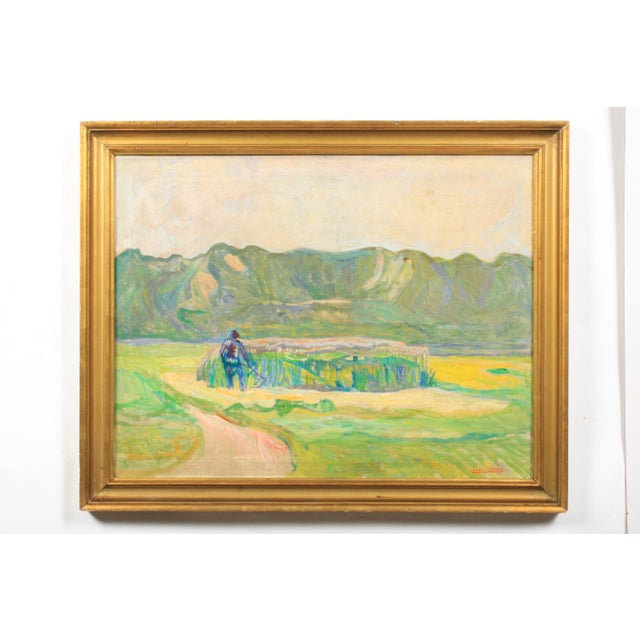 Canvas 20th C. Expressionist Harvest Scene by Vedel Egebaek For Sale - Image 7 of 7